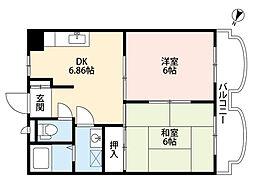 新潟県新潟市西区上新栄町3丁目の賃貸アパートの間取り