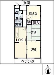 クレール横井[3階]の間取り
