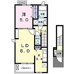 埼玉県新座市栄3丁目の賃貸アパートの間取り