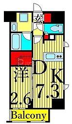 東京メトロ日比谷線 入谷駅 徒歩6分の賃貸マンション 3階1DKの間取り