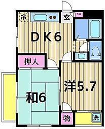 東京都葛飾区水元2丁目の賃貸マンションの間取り