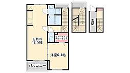 兵庫県神戸市西区北別府3丁目の賃貸アパートの間取り