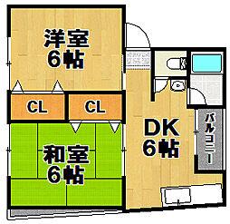 伝法オグラマンション[3階]の間取り