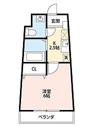 セラヴィ坂崎 8階1Kの間取り