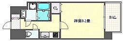 レオンコンフォート難波サウスゲート 11階1Kの間取り