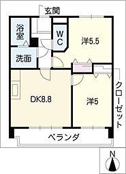 日映マンションⅢ[5階]の間取り
