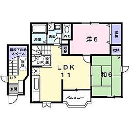 千葉県茂原市本小轡の賃貸アパートの間取り