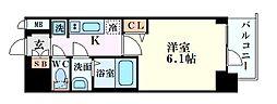 Osaka Metro谷町線 谷町六丁目駅 徒歩6分の賃貸マンション 3階1Kの間取り