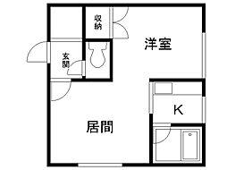 コートハウス愛宕B棟 2階1DKの間取り