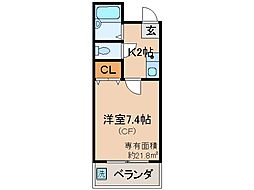 京都府京都市伏見区京町の賃貸マンションの間取り