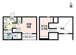 愛知県名古屋市中村区乾出町2丁目の賃貸アパートの間取り