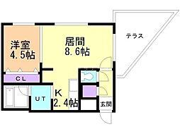 ステージア白石中央 地下1階1LDKの間取り