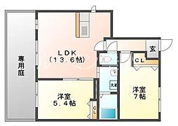 兵庫県三木市末広1丁目の賃貸アパートの間取り