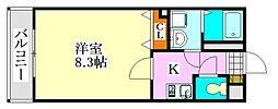 千葉県船橋市前原西1の賃貸アパートの間取り