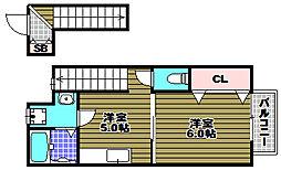 大阪府富田林市須賀2丁目の賃貸アパートの間取り