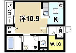 奈良県奈良市四条大路1丁目の賃貸アパートの間取り