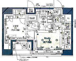 都営大江戸線 汐留駅 徒歩7分の賃貸マンション 13階ワンルームの間取り