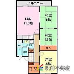 西鉄貝塚線 西鉄新宮駅 徒歩7分の賃貸アパート 2階3LDKの間取り