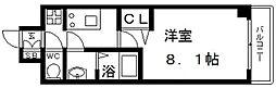プレサンス谷町九丁目駅前 11階1Kの間取り