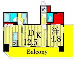 東京メトロ日比谷線 三ノ輪駅 徒歩6分の賃貸マンション 12階1LDKの間取り