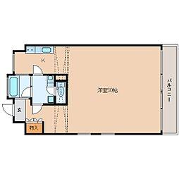 近鉄京都線 高の原駅 徒歩11分の賃貸マンション 2階ワンルームの間取り