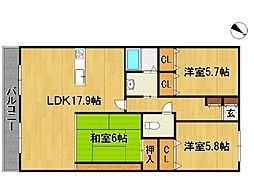 ロイヤルマンション南久留米[6階]の間取り