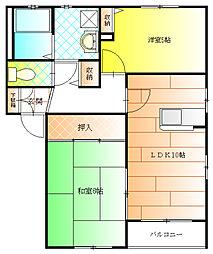 ヴィラパークB棟[2階]の間取り
