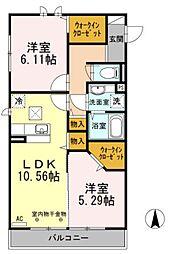 リベラマーロII[3階]の間取り