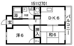ファーストハイツ駒川[4階]の間取り