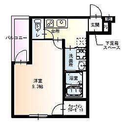 フジパレス園田東 2階1Kの間取り