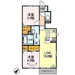 埼玉県吉川市美南2丁目の賃貸アパートの間取り