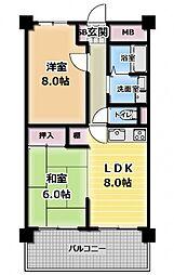 分譲マンション14階部分・メロディハイム守口[1438号室]の間取り