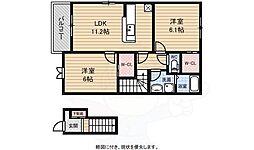南海高野線 萩原天神駅 徒歩7分の賃貸アパート 2階2LDKの間取り