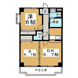 ツインプラザ幸[5階]の間取り
