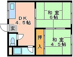 コーポ友田[2階]の間取り