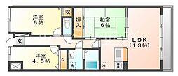 プラザハイツ二ツ屋A棟[2階]の間取り