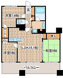兵庫県神戸市中央区伊藤町の賃貸マンションの間取り