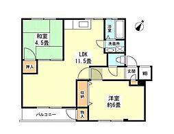 JR中央線 国立駅 徒歩14分の賃貸マンション 1階2LDKの間取り