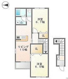 三木市宿原字新田山1265番46の賃貸住宅[2階]の間取り