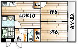 福岡県北九州市八幡東区春の町5丁目の賃貸マンションの間取り