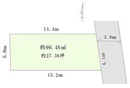 全体の敷地図です。間口は約6mととても広いです。建物プランの入れやすいキレイな形の土地です。大きな公園が近隣にあり、緑を感じられる立地にございます。