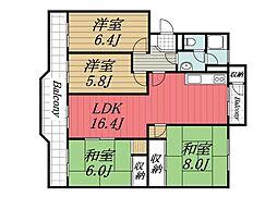 京成本線 京成成田駅 徒歩20分の賃貸マンション 5階4LDKの間取り