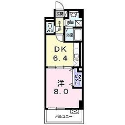 ハックベリー茨木南 3階1DKの間取り