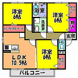 大阪府河内長野市市町の賃貸アパートの間取り