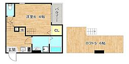 stage梅園 1階1Kの間取り