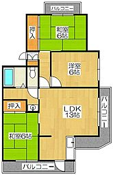 サンパール都府楼[4階]の間取り