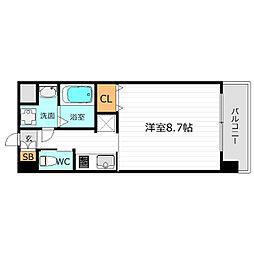 京阪本線 野江駅 徒歩3分の賃貸マンション 2階1Kの間取り