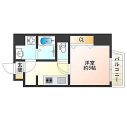 JR大阪環状線 寺田町駅 徒歩10分の賃貸マンション 6階1Kの間取り