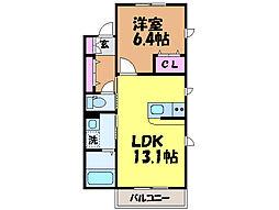 愛媛県松山市立花5丁目の賃貸アパートの間取り