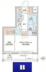 アジールコート新高円寺 5階1DKの間取り